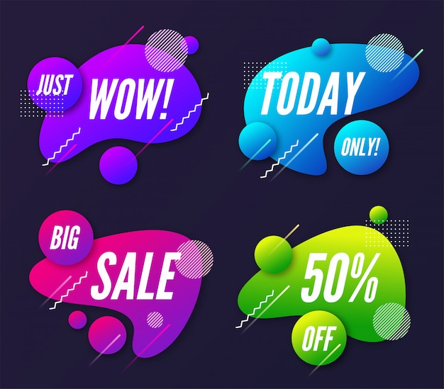 Set of abstract trendy dynamic promotion banner