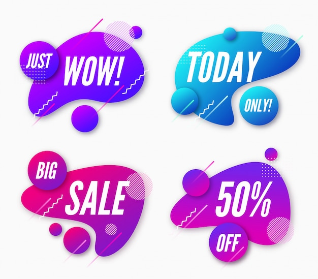 Set of abstract trendy dynamic style compositions, promotion banner