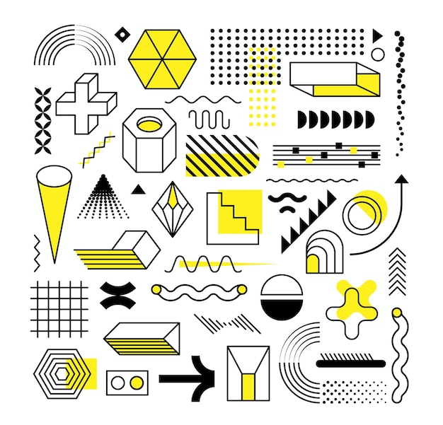 Set of abstract trendy geometric shapes and design elements with bright yellow elements.