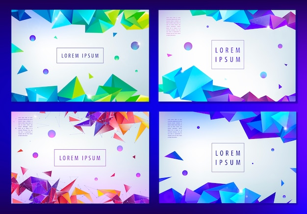 Set of abstract triangular banners