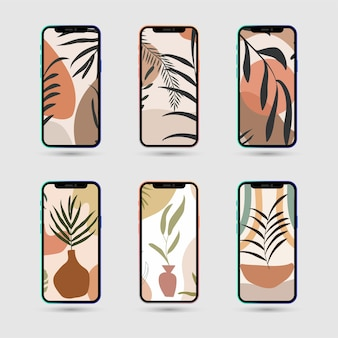 Set of abstract tropical leaves poster for social media stories with mobile