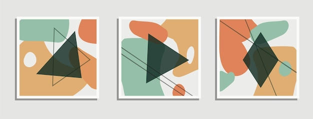 Set of abstract vector backgrounds in natural shades abstraction with geometric shapes