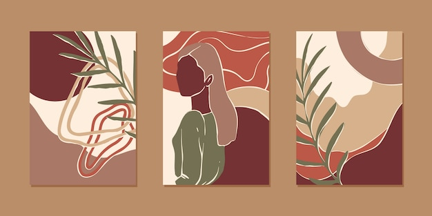 Set of abstract vertical background for mobile app and social media content with women portrait, plant and abstract shape in modern earth color, minimalistic style.