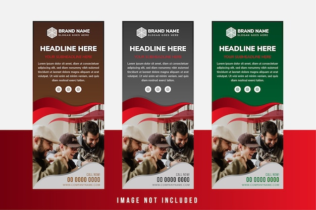 Set of abstract vertical banner design template use dark variant colors wave style space for photo collage