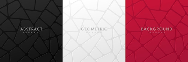 Set of abstract voronoi 3d geometric blocks in black dark red and white background