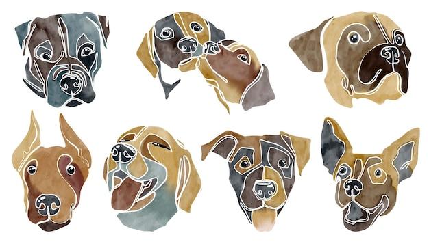 Set of abstract watercolor dogs portraits