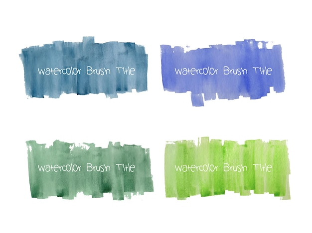 Set of abstract watercolor grunge brush strokes