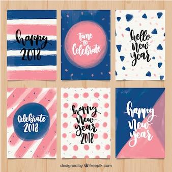 Set di carte astratte del nuovo anno dell'acquerello