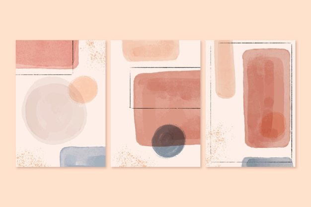 Set of abstract watercolor shapes covers