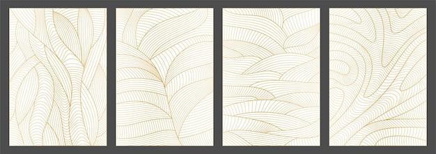 Set of abstract wavy backgrounds line pattern with waves texture