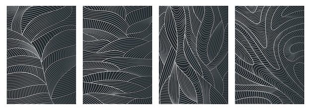 Set of abstract wavy backgrounds line pattern with waves texture Premium Vector