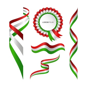 Set of abstract wavy flag of the italy with ribbon style
