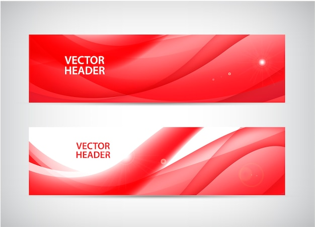 Set of abstract wavy horizontal headers, web banners. water flow, stream. paper cut banner
