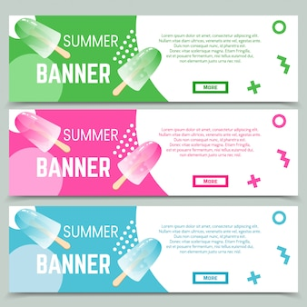 Set of abstract web banner template in memphis style