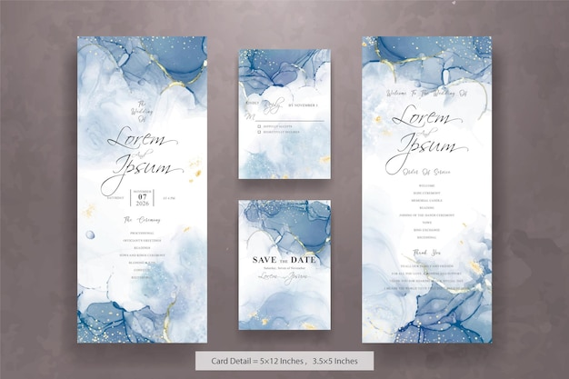 Set of abstract wedding invitation card template with fluid art painting design