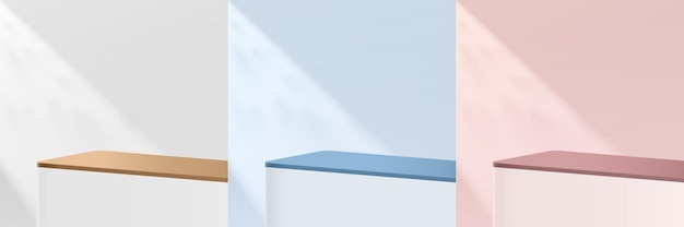 Set of abstract white, pink, blue round corner 3d pedestal or stand podium with shadow. pastel minimal scene collection. modern vector rendering geometric platform for product display presentation.