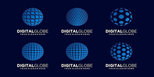 Set of abstract world data digital technology logo design vector template.