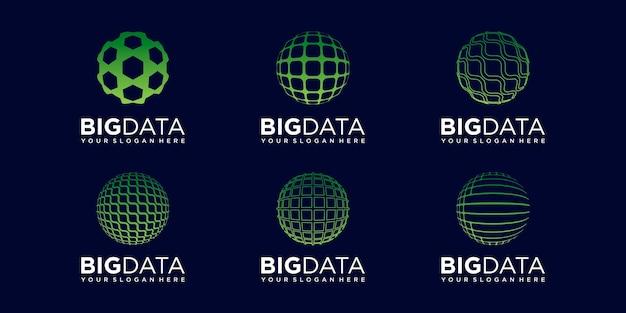 Set of abstract world data logo design vector template.