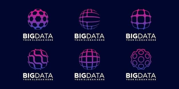 Set of abstract world digital logo design vector template.