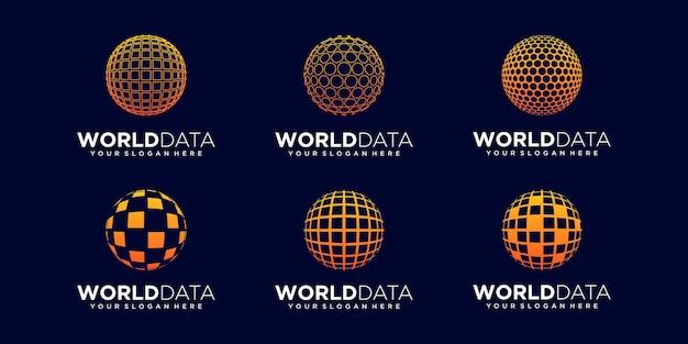 Set of abstract world tech digital logo design vector template.