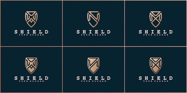Set of abstrak letters with shield concept and business card premium vekto