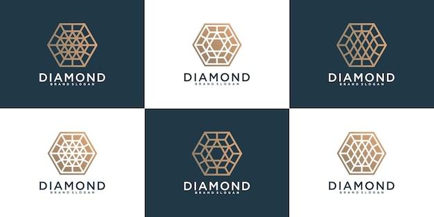Set of abtrack diamond logo design with hexagon line art style premium vekto