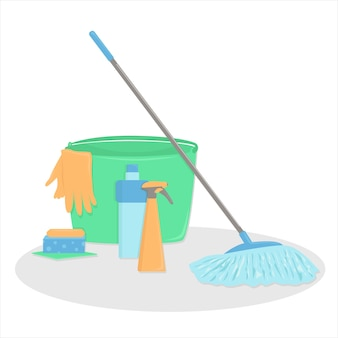 A set of accessories for cleaning. cartoon style
