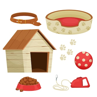Set of accessories for dogs with kennel toys collar different staffs for pet care isolated