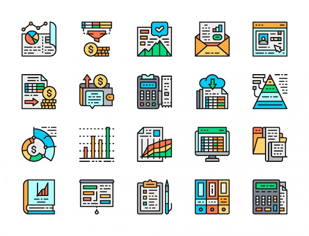 Set of accounting report flat color icons.