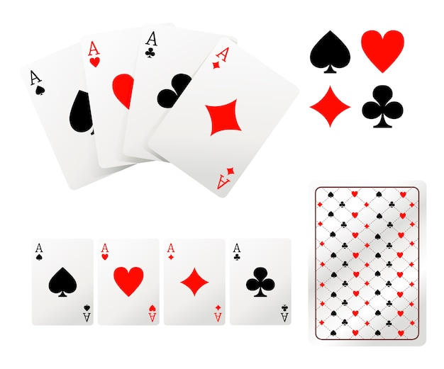 Set of ace playing cards. back side .  illustration  on white background. web site page and mobile app.