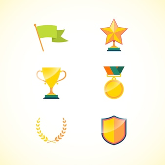 Set of achievement badges for motivation and incentive isolated vector illustration