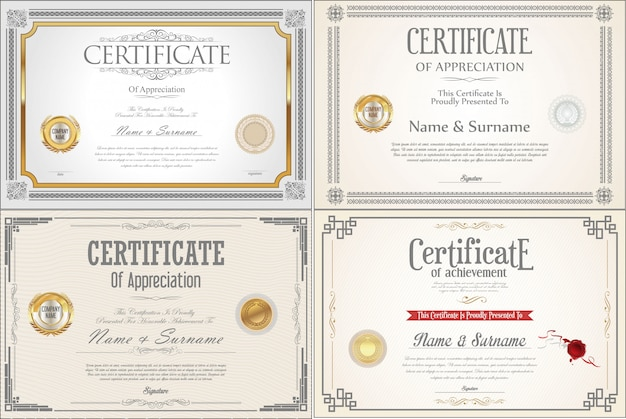 Set of achievement certificate design with seals Premium Vector
