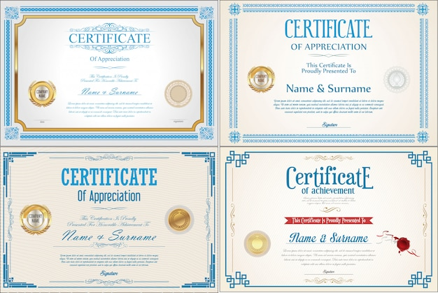 Set of achievement certificate with seals