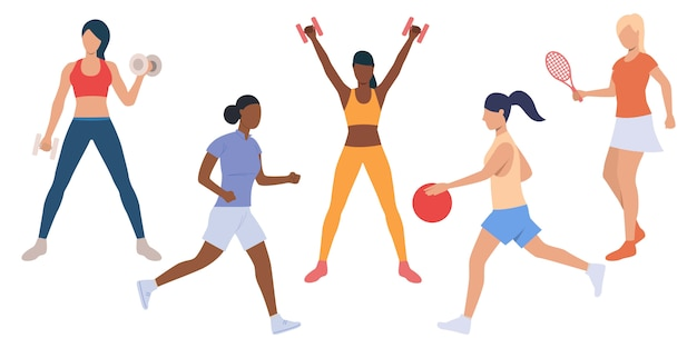 Set of active ladies at sport training