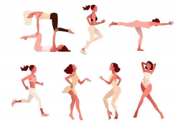 Set of active positive women practicing healthy lifestyle, doing yoga exercise, workout,