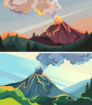 Set of active volcanoes in the wild. beautiful nature sceneries.
