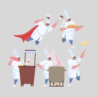 Set of activities man chef in uniform.