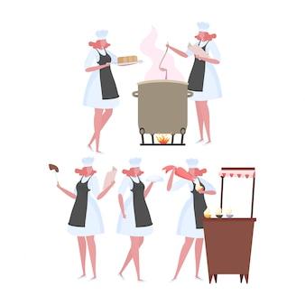 Set of activities woman chef in uniform.