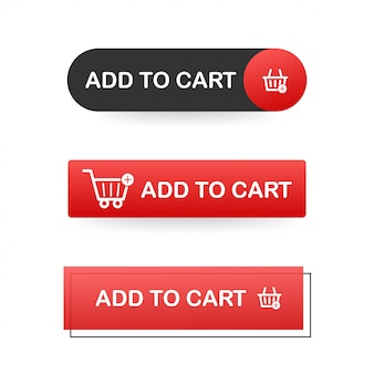 Set add to cart button. shopping cart icon.