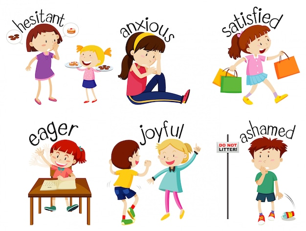 Set of adjective words with children expressing their feelings