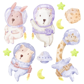 Set di adorabili orsi, conigli, giraffe, cani. vario di orso, coniglio, giraffa, gesto e colore del cane