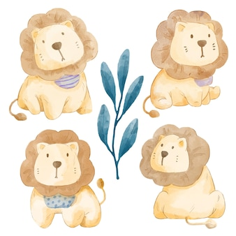 Set of adorable lion. various of lion gesture and color