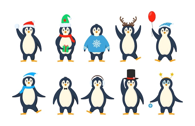Set of adorable penguins wearing winter clothing and hats.