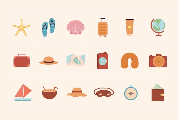 Set of adventure icons on a beige background