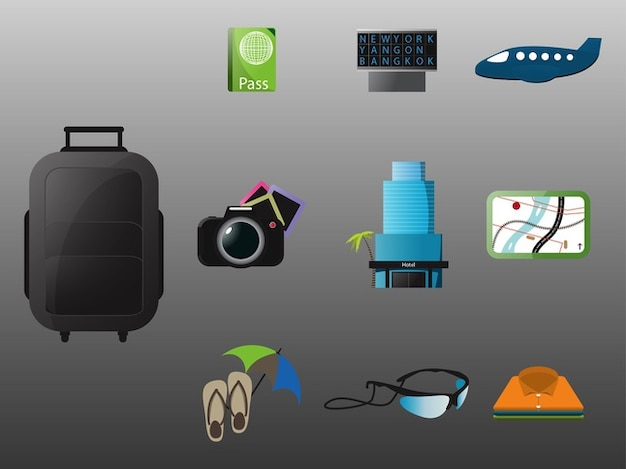 Set of adventure icons