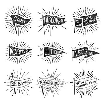 Set of adventure, outdoors, camping pennants. retro monochrome labels with light rays.