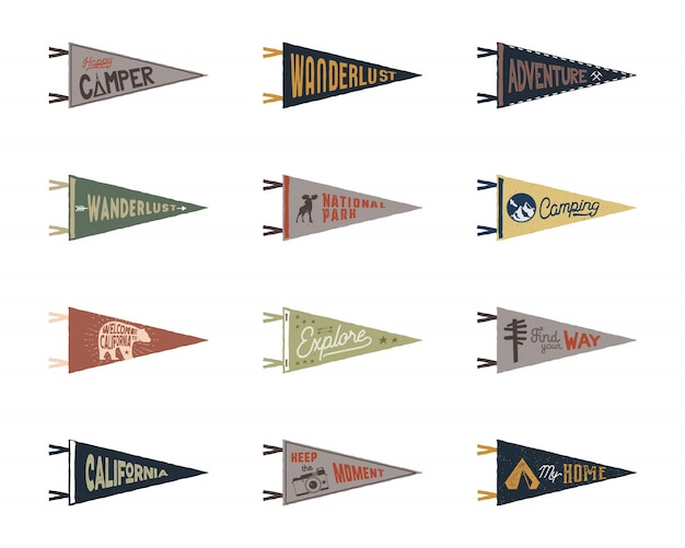 Set of adventure, surfing, camping pennants. retro colors labels. vintage hand drawn wanderlust style.