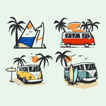 Set of adventure and surfing illustrations