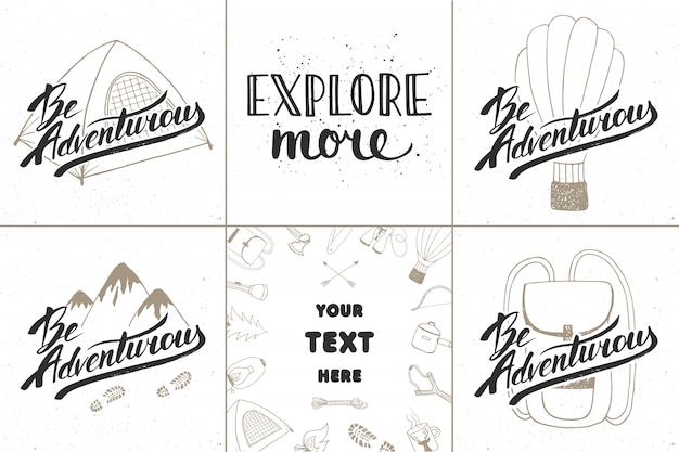 Set of adventure and travel hand drawn typography
