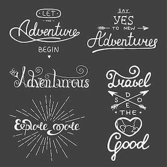 Set of adventure and travel vector lettering